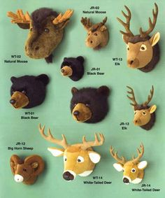 Because I'm not sure if I could ever have a real animal head on my wall, I think these plush animal mounted heads will work just fine :)