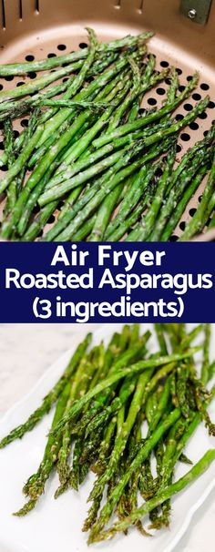 With only 2 ingredients and taking a fraction of the typical time this Air Fryer Roasted Asparagus will be your favorite way to cook asparagus from now on! KETO PALEO vegetarian vegan and pretty much every diet compliant! Air Fryer Oven Recipes, Air Frier Recipes, Air Fryer Dinner Recipes, Recipes Dinner, Zucchini Chips, Healthy Recipes, Vegetarian Recipes, Healthy Asparagus Recipes, Snacks Recipes