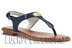 Michael Kors Leather Medium Width (B, M) Shoes for Women Mk Sandals, Flat Sandals, Summer Sandals, Flat Shoes, Navy Blue Sandals, Metallic Sandals, Open Toe Flats, Flip Flop Shoes, Flip Flops