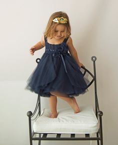 Navy Blue Tulle Dress with Empire Waist and Stretch Crochet