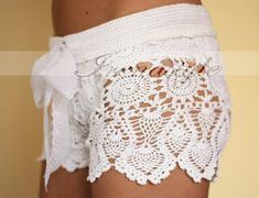 Crochet shorts. Crochet beach shorts in cotton Custom made to order, Lace Shorts, crochet handmade, crochet shorts   Kate Hudson $149