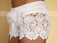 Crochet shorts. Crochet beach shorts in cotton Custom made to order, Lace Shorts, crochet handmade, crochet shorts   Kate Hudson $149