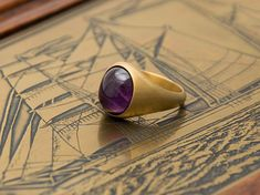 Boho Pinky Ring, Amethyst signet ring, Custom Signet Ring made with any ring size desired and personalized gold or silver finish for you. Man ring with tiger eye also available. #danelianjewelry #signetring #pinky #ring #signet #statement #amethyst #trend2018 #boho #bohemian #matte #gold #etsyfinds