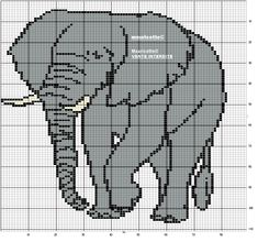 Elephant Cross Stitch, Crochet Elephant, Elephant Pattern, Cross Stitch Animals, Perler Patterns, Loom Patterns, C2c, Knitting Charts, Knitting Patterns Free