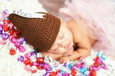 Crochet Hershey kisses hat by @knottedamore