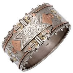 Superb Gold and Silver Victorian Cuff Bracelet