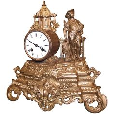 Antique French Clock | From a unique collection of antique and modern clocks at https://www.1stdibs.com/furniture/decorative-objects/clocks/