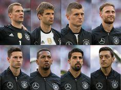 Germany NT.  Manuel Neuer, Thomas Müller, Toni Kroos, Benedikt Höwedes, Julian Draxler, Jerome Boateng, Sami Khedira, Mesut Özil.