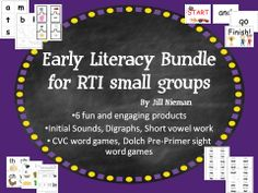 6 Early Literacy Products for small group work bundled into one- save over 25%  -Initial Sounds, digraphs, short vowels, Dolch Pre-Primer Sight Words -teaching cards, games, and worksheets