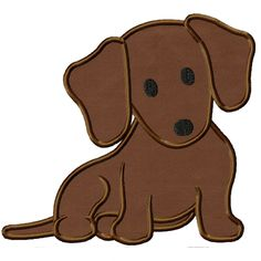 Daushchund Puppy Applique ~ could be used for paper piecing pattern
