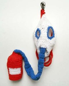 Creepy! crochet gas mask from Nathan Vincent