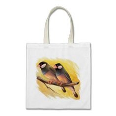 Java Sparrow finch tote bag. Available also in different bag style. #zazzle #petopet #finch #bird #javasparrow #ricebird #painting #petportrait #realism #realistic #drawing #paddaoryzivora #lonchuraoryzivora #avian #zazzle #petopet #emmil #thomas #deviantart #merchandise #sale #bag #tote #totebag #finches #birds