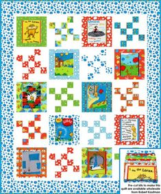 """Possible for baby quilt using """"Oh, the Places You'll God."""" Bright Speak for the Trees Organic Cotton Panel Quilt Kit Dr. Seuss Enterprises for Robert Kaufman Fabrics - Fat Quarter Shop Nancy Zieman, Quilt Kits, Quilt Blocks, Quilting Projects, Sewing Projects, Quilting Ideas, Quilting Designs, Sewing Ideas, Toddler Quilt"""