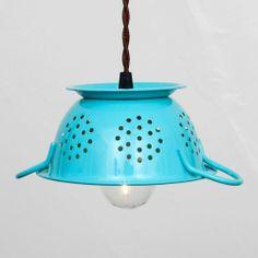 Repurposed Tiffany Blue Colander Pendant