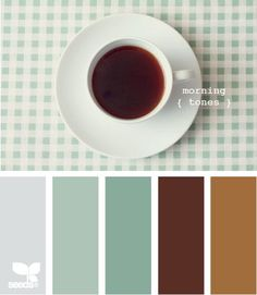 I like the idea of taking coffee out of the cup and onto the cupboard color. morning tones: design-seeds.com