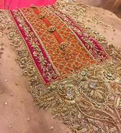 with ・・・ 😻 Bridal collection in making at aisha imran studio Zardozi Embroidery, Hand Work Embroidery, Hand Embroidery Designs, Embroidery Dress, Embroidery Patterns, Pakistani Wedding Outfits, Bridal Outfits, Pakistani Dresses, Embroidery Suits Design