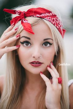 Fourth of July, Red, white and blue, American, July 4th, red nails, bandana, barbie, 4th of July photo shoot