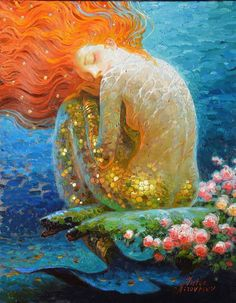Fantasy Vintage Mermaid Oil Painting Canvas For Room Adornment Art No Frame Tonglu Yiyuan Store Size: 1 inches = cm Additional canvas border Oil Painting Pictures, Pictures To Paint, Print Pictures, Fantasy Kunst, Fantasy Art, Art Buddha, Victor Nizovtsev, Mermaid Artwork, Mermaid Paintings