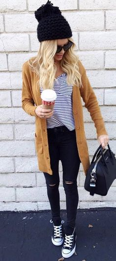 how to wear a cardigan : black hat + top + bag + converse + skinnies