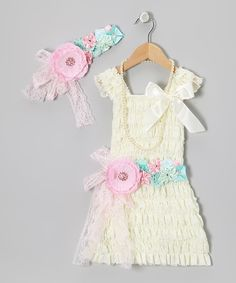 Take a look at this Ivory Lace Ruffle Dress Set - Infant,Toddler & Girls on zulily today!