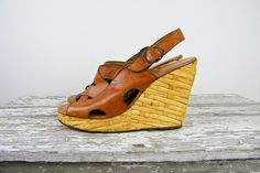 1970s platforms / 70s straw platforms / Woven by ManicVintage, $72.00