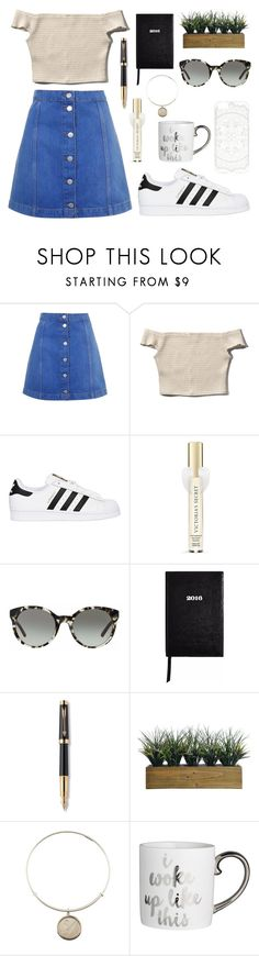 """LA winter"" by ninazimmerman ❤ liked on Polyvore featuring Topshop, Abercrombie & Fitch, adidas Originals, Victoria's Secret, Tory Burch, Sloane Stationery, Parker, Laura Ashley and Alex and Ani"