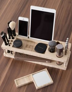 Might get one of these when i dwindle my makeup down to a manageable level. Modern Makeup Organizer for iPhone, iPad, and Devices
