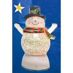 """7"""" Battery Operated LED Lighted Color-Changing Snowman Christmas Glitterdome"""