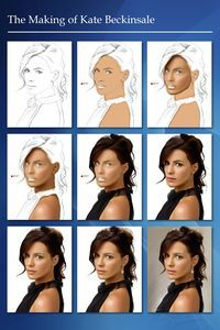 Kate Beckinsale A combination of digital painting and photo manipulation using layers and brushes. Digital Painting Tutorials, Digital Art Tutorial, Art Tutorials, Digital Paintings, Watercolor Tutorials, Drawing Cartoon Characters, Cartoon Drawings, Art Drawings, Poses