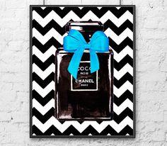 HANEL Poster Noir Watercolor Print CHANEL Perfume by DELDELART