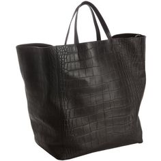 Celine Black Croc Embossed Square 'Cabas' Shopper Tote (17.410 HRK) ❤ liked on Polyvore featuring bags, handbags, tote bags, celine, accessories, totes, leather handbags, leather hand bags, leather tote handbags and leather shopper tote