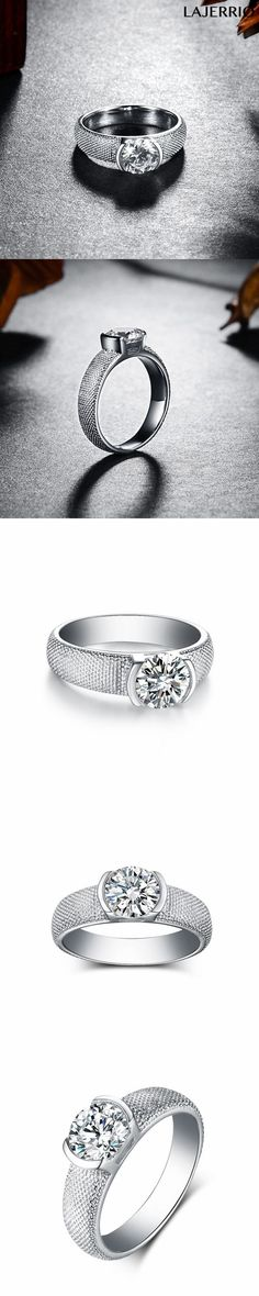 Lajerrio Jewelry Fabulous Round Cut White Sapphire S925 Engagement Rings