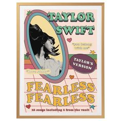 Taylor Swift Fearless retro, indie poster print   DIGITAL DOWNLOAD