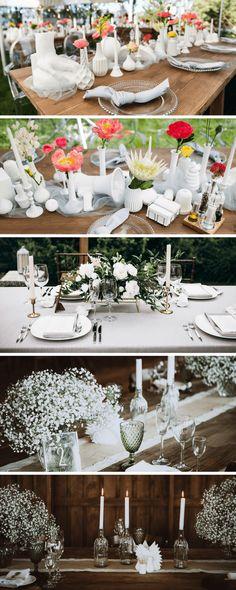 Eine festliche weiße Tischdeko - diese und weitere schöne Inspirationen für die Tischdekoration liefern wir Euch gerne mit dieser schönen Ideensammlung.