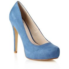 Blue Suedette High Heel Almond Toe Court Shoes ($58) ❤ liked on Polyvore