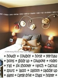 Cowboy Border Sticky Words Wall Vinyl Lettering