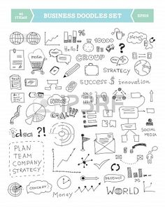 Hand drawn illustration of business doodles elements Isolated on white background