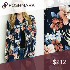 """Floral bomber jacket Bomber jackets are it for the season! The jacket is navy blue with tropical print. Pair over your favorite dress or with a top and jeans. Pockets with zippers   S: Bust 39""""around-Length 24"""" M: Bust 41"""" around-Length 25"""" L: Bust 44"""" around-Length 26"""" contrast 100%cotton/Self 100%polyester/ New no tags  Price is not negotiable, please   Jackets & Coats"""