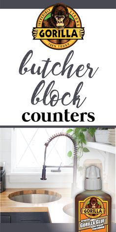 Freshen up old countertops with Gorilla Glue and butcher block! Home Design Decor, Unique Home Decor, Home Improvement Projects, Home Projects, Diy Countertops, Home Reno, Dream Decor, Tiny Living, First Home