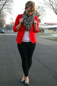 red blazer + black pants + b scarf
