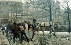 Gezicht op de Paleisstraat/Singelbrug in Amsterdam - George Hendrik Breitner, ca. 1897