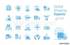 Global Shipping Experts vector icon collection with a blue tone - Buy this stock vector and explore similar vectors at Adobe Stock | Adobe Stock