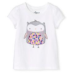 Toddler Girls' Long-Sleeve Owl T-Shirt - Fresh White