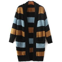 Striped Long Sleeve Thicken Cardigan (52 CAD) ❤ liked on Polyvore featuring tops, cardigans, long sleeve cardigan, stripe top, cardigan top, stripe cardigan and striped top