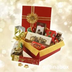 Christmas gifts with chocolate treats. Festive Season corporate chocolate gifts hamper with Lindt Lindor & Belgium chocolate gifts Gauteng or Cape Town, South Africa Chocolate Stars, Christmas Chocolate, Chocolate Treats, Chocolate Box, Chocolate Truffles, Nougat Bar, Holiday Gifts, Christmas Gifts, Cherry Liqueur
