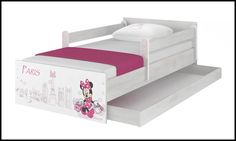 Disney children's bed Minnie Paris-A – Kiddymill Minnie Mouse Bedding, Magical Room, Childrens Desk, Mattress Frame, Bed With Drawers, How To Make Bed, Kid Beds, Cot, Kids Bedroom