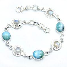 Stunning Sterling Silver Larimar, Moonstone Bracelet  Price : $117.95 http://www.silverplazajewelry.com/Stunning-Sterling-Silver-Moonstone-Bracelet/dp/B00FZVOMA8