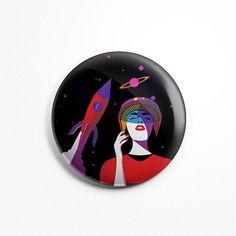 Magnet Rond Illustration - Space Girl Magnet Frigidaire Aimant Cuisine 56mm Diamètre Fusée Espace Fille Astronaute Cosmonaute Spacionaute