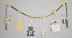 Yellow and grey baby shower.