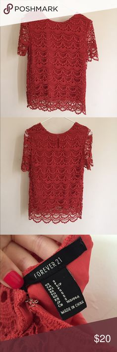 Forever 21 floral lace short sleeve top In perfect condition. Love it but never worn. Forever 21 Tops Blouses